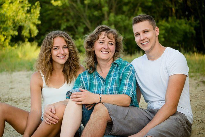 Mother with Daughter and Son
